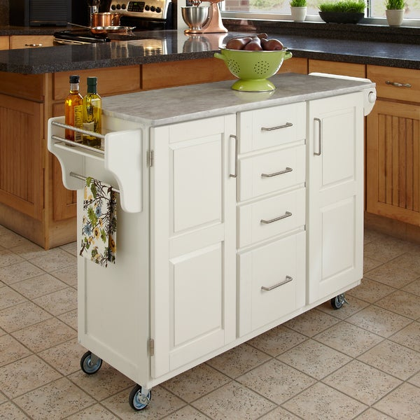 White Finish with Marble Top Create-a-Cart