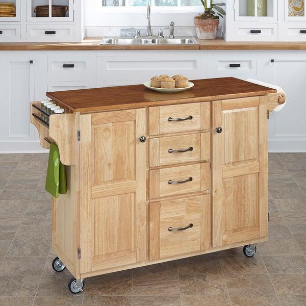 Natural Finish 4-drawer Cart
