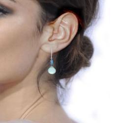 Ashanti Aqua Chalcedony and Neon Blue Apatite Gemstone Handmade Earrings (Sri Lanka)
