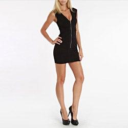247 Frenzy Juniors Black Cap-Sleeved Zip Dress
