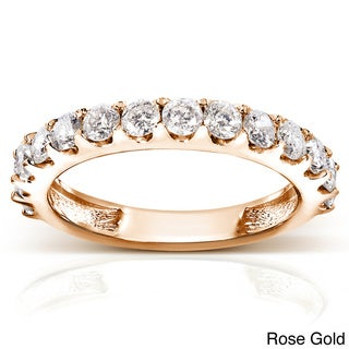 Annello  14k Gold 1ct TDW Diamond Semi-eternity Wedding Band (G-H, I1-I2) with Bonus Item