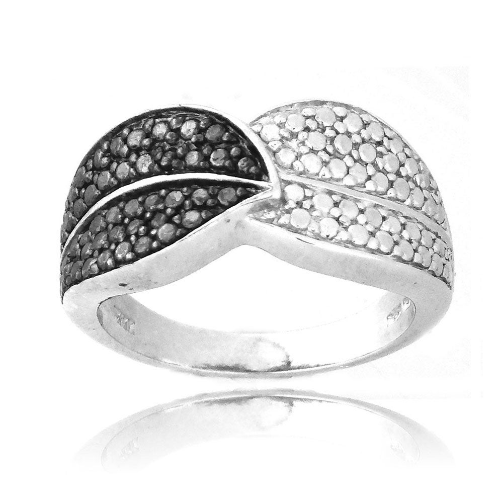 DB Designs Sterling Silver Black Diamond Accent Leaf Ring