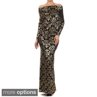 Tabeez Women's Black and Gold Printed Off-shoulder Maxi Dress