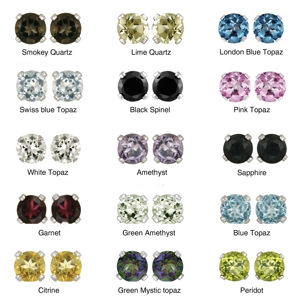 Glitzy Rocks Sterling Silver Gemstone 6-mm Stud Earrings