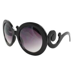 Womens' Black Oval Fashion Sunglasses