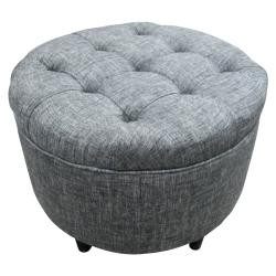 Sole Designs Round Button Tufted Ottoman