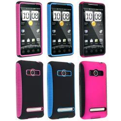Pink/ Black/ Blue Hybrid TPU Case For HTC EVO 4G