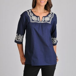 La Cera Women's Embroidered 3/4 Sleeve Top