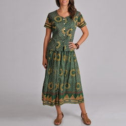 La Cera Women's Woven Green Sun Print Top and Skirt 2-piece Set
