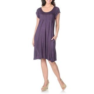La Cera Women's Short-sleeve Inverted Pleat Knit Dress