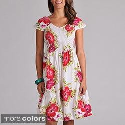 La Cera Women's Smocked-Bodice Sleeveless Floral Sundress