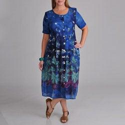 La Cera Women's Plus Border Print Pleated Dress