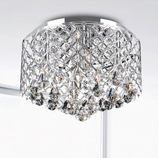 Nerisa Chrome Crystal Flush Mount Chandelier