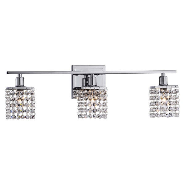 3-light Chrome/ Crystal Square Shade Wall Sconce
