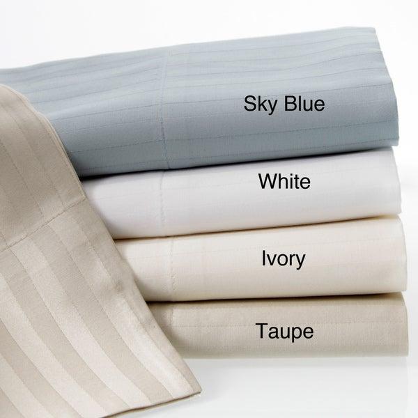 Luxury Cotton Sateen 360 Thread Count Dobby Stripe Sheet Set With Bonus Pillowcases