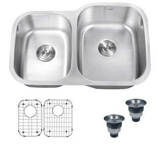 Ruvati 16-Gauge Premium Stainless-Steel Double-Bowl 32-Inch Undermount Kitchen Sink