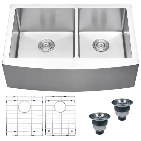 Ruvati 16-gauge Stainless Steel 33-inch Double Bowl Apron Front Kitchen Sink