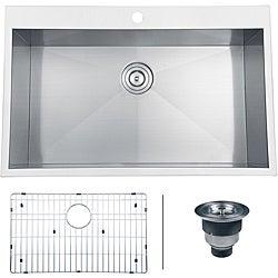 Ruvati 16-gauge Stainless Steel 33-inch Single Bowl Overmount Kitchen Sink