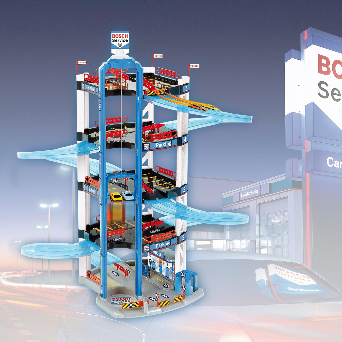 Theo Klein Bosch Plastic 5 Level Car Park with a Lift and Two Cars