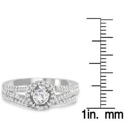 10k White Gold 3/4ct TDW White Diamond Halo Bridal Ring Set (I-J, I1-I2)