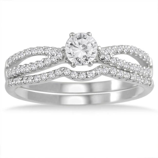 10k White Gold 5/8ct TDW Diamond Bridal Ring Set (I-J, I1-I2)