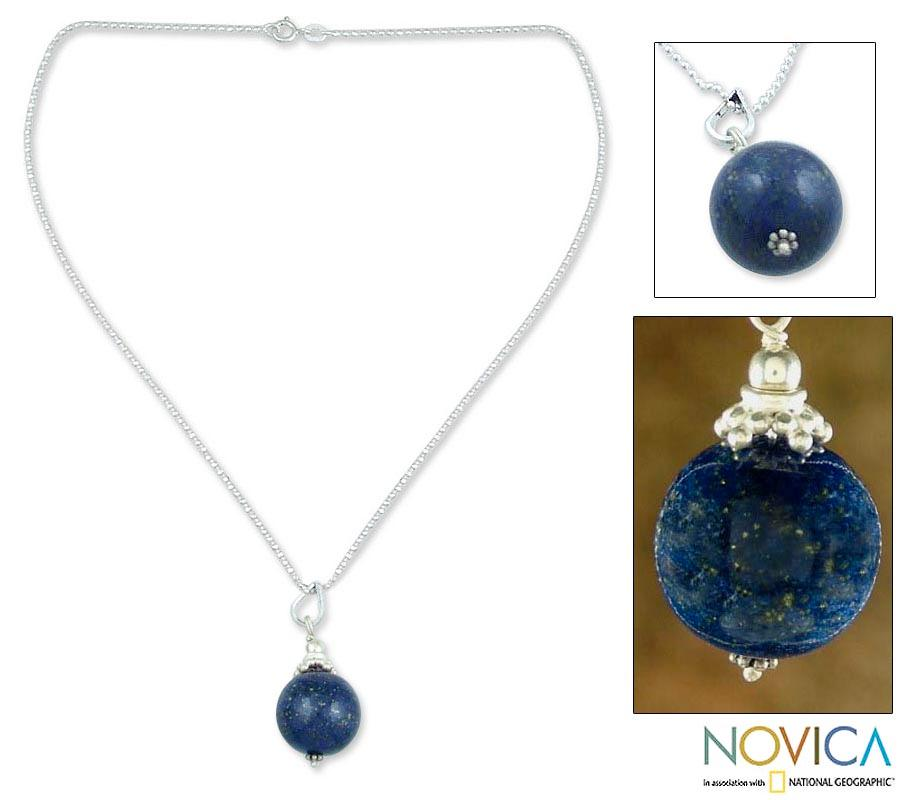 Sterling Silver 'Blue Universe' Lapis Lazuli Necklace (India)