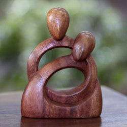 Handcrafted Suar Wood 'Eternity of Love' Sculpture (Indonesia)