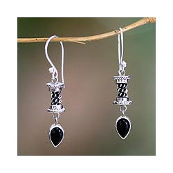 Sterling Silver 'Balinese Temptation' Onyx Earrings (Indonesia)