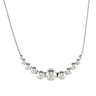 Southwest Moon Graduated Bead Liquid Metal 16-inch Necklace