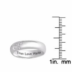 Sterling Silver 'True Love Waits' CZ Cross Band