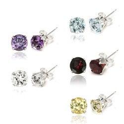 Glitzy Rocks Sterling Silver Gemstone 6mm Stud Earrings (Set of 5)(9 3/8ct TGW)