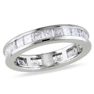 Miadora 14k White Gold 2ct TDW Channel-set Diamond Eternity Ring (G-H, SI1-SI2)