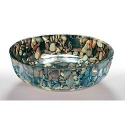 Pebble Glass Bowl Vessel Bathroom Sink