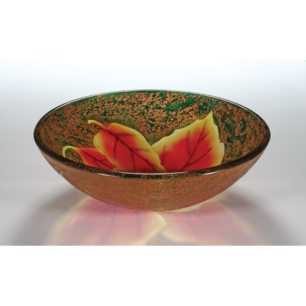 Autumn Leaf Glass Bowl Vessel Bathroom Sink