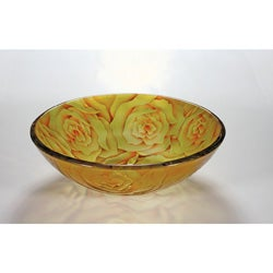Yellow Rose Glass Bowl Vessel Bathroom Sink