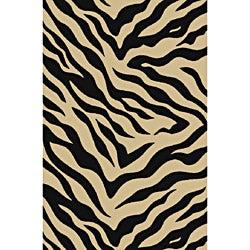 Animal Prints Zebra Black Non-Skid Area Rug (2' x 3'3)