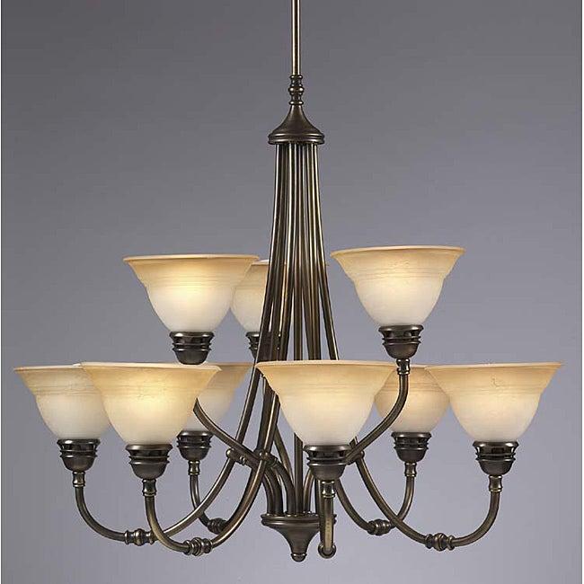 Transitional 9 Light Antique Brass Chandelier