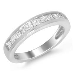 14k White Gold 3/4ct TDW Princess-cut Diamond Wedding Band (H-I, I1-I2)