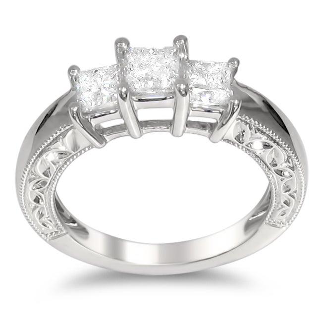 14k White Gold 1ct TDW Princess-cut Diamond Engagement Ring (H-I, I1-I2)