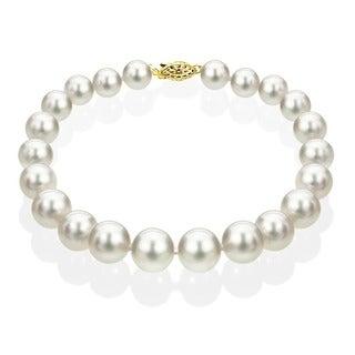 DaVonna 14k Gold White Akoya Cultured Pearl Bracelet (6.5-7 mm)