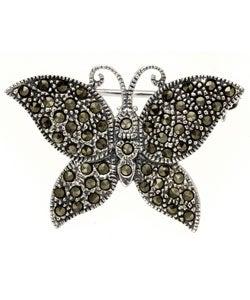 Glitzy Rocks Sterling Silver Marcasite Butterfly Pin