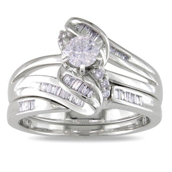 Miadora 10k White Gold 1/2ct TDW Diamond Bridal Ring Set (H-I, I2-I3)
