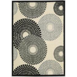 Nourison Graphic Illusions Circular Black Multi Color Rug (5'3 x 7'5)