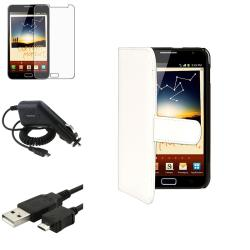 Synthetic Leather Case/Screen Protector/Charger/Cable for Samsung© Galaxy Note N7000