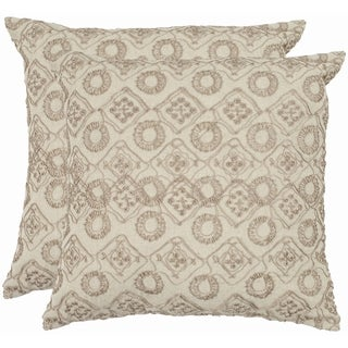Safavieh Emboroidery 18-inch Stone/ Cream Decorative Pillows (Set of 2)