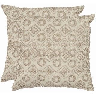 Safavieh Emboroidery 22-inch Stone/ Cream Decorative Pillows (Set of 2)