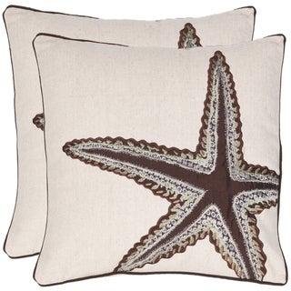Safavieh Starfish 18-inch Beige/ Brown Decorative Pillows (Set of 2)