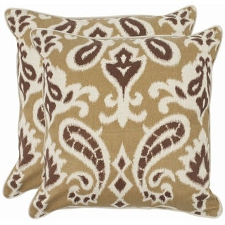 Safavieh Paisley 18-inch Brown Decorative Pillows (Set of 2)