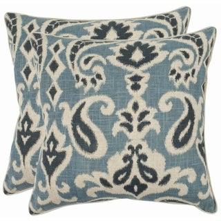 Safavieh Paisley 18-inch Blue Decorative Pillows (Set of 2)
