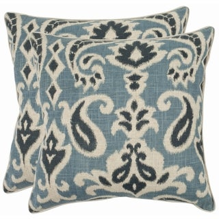 Safavieh Paisley 22-inch Blue Decorative Pillows (Set of 2)